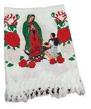 Virgen de Guadalupe Rebozo, Mexican Shawl.(White)