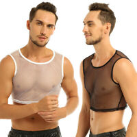 Comfy Muscle Mesh Fishnet sheer Mens Vest Sleeveless T-Shirt Tank Top Singlet