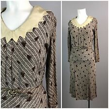 Vintage 1930s Art Deco Brown Novelty Belted Dress XS Scalloped Long Sleeve