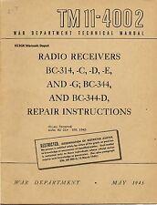 Tm 11-4002 Bc-314 Bc-344 Military Repair Instructions Manual * Cdrom * Pdf