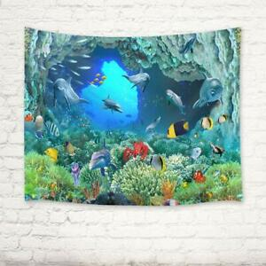 Dolphin Tapestry Tropical Fish Coral Reef Wall Hanging for Bedroom Living Room