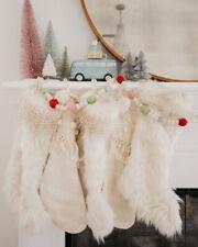 Anthropologie Cream Faux Fur Chevron Christmas Stocking