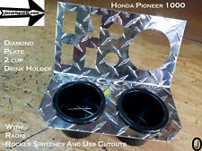"""Honda Pioneer 1000 LIMITED stainless Cupholder dash panel 3 5//8/"""" radio hole and"""