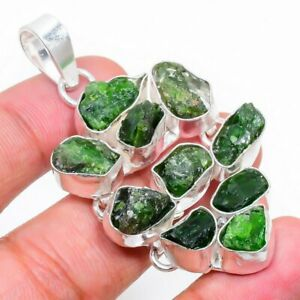 """Chrome Diopside Rough Gemstone 925 Sterling Silver Jewelry Pendant 2.17"""""""