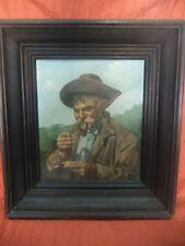 """OIL PAINTING """"OLD MAN SMOKING"""" BY ADRIEN HENRI VITAL VAN EMELEN - 1901"""