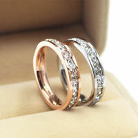 Women's Stainless Steel Wedding Ring Silver/Rose Gold CZ Titanium Band Jewelry