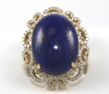 Oval Blue Lapis Lazuli & Diamond Filigree Halo Ring 14k Yellow Gold 14.95Ct