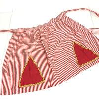 Candy Striped Half Apron Holiday Red White Stripe Vtg Handmade Cotton