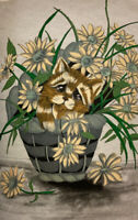 Tri-Chem Inc Kitten In A Basket of Daisies Fabric Art Pictures 12 x 18 COMPLETED