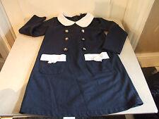 Splendido GIRL'S Navy Blu Bianco Con Colletto Di Marca Vestito Ragazza Età 4 anni