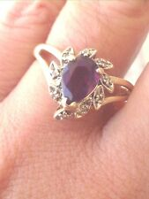 Ladies Amethyst and Diamond Ring 14k Authentic Gold