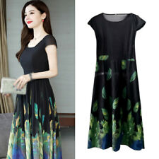 Dress Ladies Womens Loose Party Round neck A line skirt Floral printed