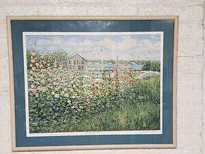 E. Joseph Fontaine Hollyhocks By The Sea Signed 4/50 AP Impressionist Ltd Print
