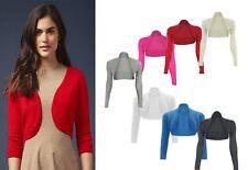 Womens Plain Shrug Long Sleeves Cropped Bolero Top Ladies Cardigan Size 8-26 *bl