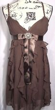 BCBG MAXAZRIA Women's Silk Brown Ruffle Brooch Bow Empire Evening Dress Sz 4P