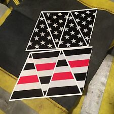 Firefighter Red Line Black American Flag Fire Helmet Reflective Decal Top 8-Part
