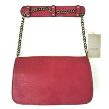 Abaco Pink Textured Lambskin Leather Shoulder Bag Detachable Straps Retail $759