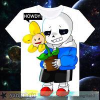 Otaku Short Sleeve White Men T-shirt Tops Pullover Cosplay Game Undertale #Ux34