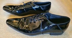 Mens Black Italian Leather Patent Dress Shoes Lace Ups 11/ 46