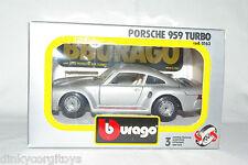 BBURAGO BURAGO 163 PORSCHE 959 TURBO METALLIC GREY MINT BOXED RARE SELTEN!