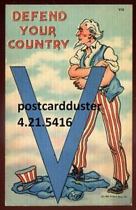 5416 - US MILITARY Postcard 1940s Uncle Sam WW2 VICTORY Series