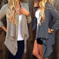 Womens Ladies Casual Waterfall Cardigan French Long Sleeve Coat Duster Jacket