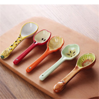 Kids Fruits Pattern Ceramic Dinner Drinking Milk Soup Spoon Ice Dessert Spoon