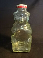 Old Vtg Glass Snow Crest Still Piggy Coin Bank Bear Design Made In Salem MA USA