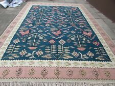 Old Traditional Turkish Oriental Hand Made Pink Green Wool Large Kilim 376x275cm