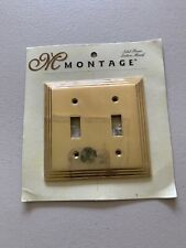 Montage Solid Brass Wall Plate Laiton Massif Double Toggle Switch NEW
