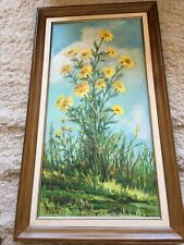"TALL BEST F. BLAND DAISY OIL PAINTING 34.5"" X 19.5"" FRAMED SIGNED FLOWERS"