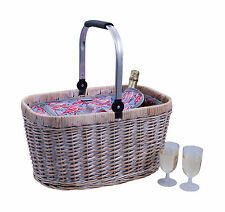 Avanti Insulated Carry Basket Washed Light Brown with Flamingo Pattern RRP $99