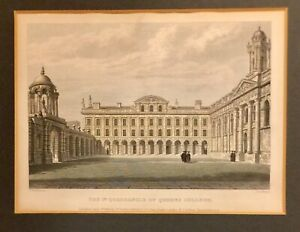 Original 1834 QUEENS COLLEGE Colored Engraving by Mackenzie, Publisher Le Keux