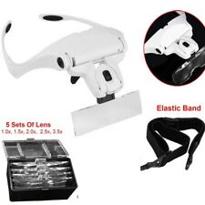 Head Magnifier with 2 LED Lights Magnifying Glass Hands Free Lamp Headband UKED