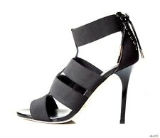 new $950 JIMMY CHOO 'Dario' black elastic straps open toe shoes 37.5 7.5 - sexy
