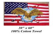 "USA US FLAG AMERICAN EAGLE 30x60"" Big 100% COTTON BATH POOL BEACH TOWEL WRAP"