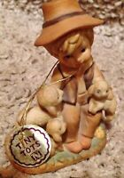 Vintage Napco Tiny Tots Boy With Lambs Figurine 6966 With Tag