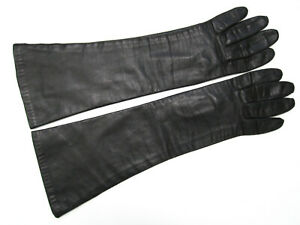 SUPERB BLACK ELBOW-LENGTH LEATHER GLOVES, BELGIUM, SILKY LINING, 6-1/2, VTG EUC