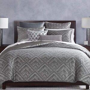 Brand NEW!  Hudson Park Woven Diamond King Size Duvet Comforter Cover Gray