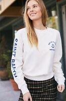 brandy melville beige crewneck cotton Cailin Saint Barth sweatshirt NWT sz S