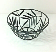 Black wrought Iron Leaf Cutout Bowl Metal Decorative Fruit basket