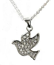 "White Diamante Crystal Dove Pendant on Silver Plated 16"" Necklace Chain (20mm)"