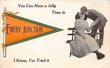 Michigan Mi PENNANT Postcard 1912 EMERY JUNCTION Have A Jolly Time