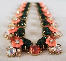 J. Crew emerald peach flower statement necklace