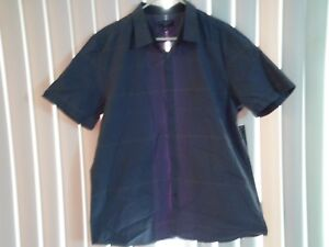 Men's Attention Blue Striped Buttoned Short Sleeve Shirt Slim XL Clothing Gift