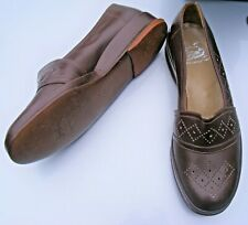 Vintage 1940s brown leather wedge sole & heel shoes Lollabouts by Brevitt size 8