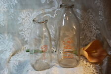 Vintage Two Glass Milk Bottles Farmers Co-op and Borden's Dairy