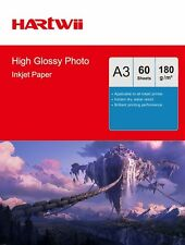 Hartwii 60Sheets A3 180Gsm High Glossy Photo Paper Inkjet Paper Printing AU Send