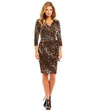 Tahari ASL Wear to Work Animal Print 3/4 Sleeve Side-Tide Sheath Dress Sz 14