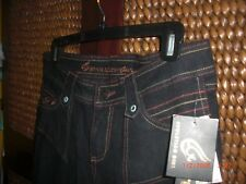 EVOLUTION GIRL 7/8 Stretch, Black, Double-stitched, Embroidered Jeans NWT